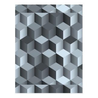 Kubdesign för monokrom 3D Vykort