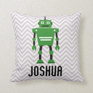 Kudder den gröna roboten för personligpojkar kudde