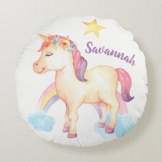 Kudder den lyckliga unicornen för personligen med rund kudde