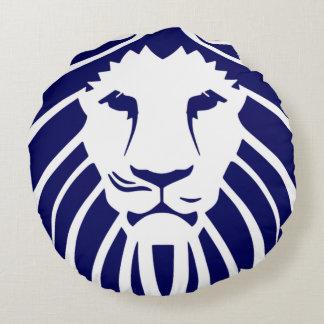 Kudder marinblått lejont för ungar rund kudde