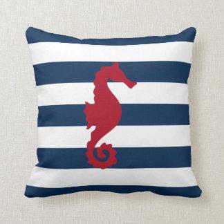 Kudder nautiska marinblåa randar för den röda dekorativ kudde