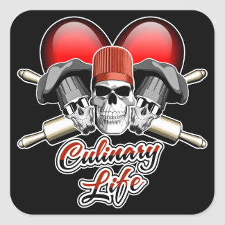 Kulinariskt liv för hjärta: Bagare Fyrkantigt Klistermärke