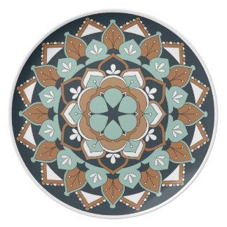 Kulör blom- Mandala 060517_1 Tallrik
