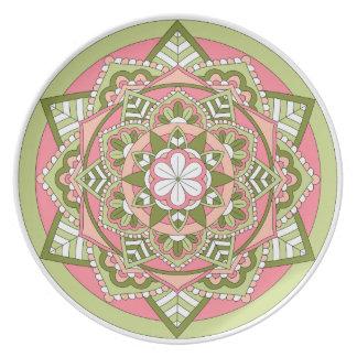 Kulör blom- Mandala 061117_1 Tallrik