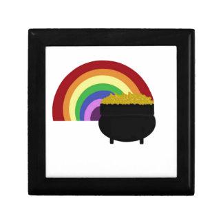 Kulör regnbåge och kruka av guld presentskrin