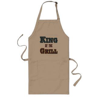 Kung av förklädet för slogan för grillaBBQ-matlagn Långt Förkläde