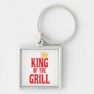 Kung av grilla fyrkantig silverfärgad nyckelring