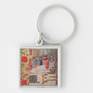 Kung David och musiker, från breviaryen Fyrkantig Silverfärgad Nyckelring