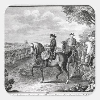 Kung Frederick II av Prussia som granskar Fyrkantigt Klistermärke