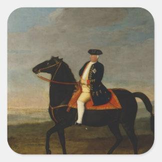 Kung Frederick William mig på hästrygg Fyrkantigt Klistermärke