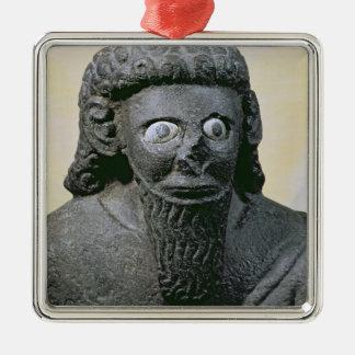 Kung Hadad, från slotten på Berätta-Halaf, Syrien Silverfärgad Fyrkantigt Julgransprydnad