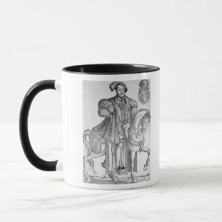 Kung Henry VIII på hästrygg Mugg