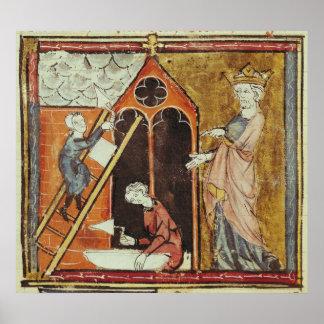 Kung Louis VI som håller ögonen på konstruktionen  Poster