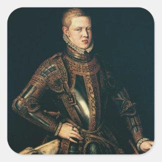 Kung Sebastian av Portugal, c.1571 Fyrkantigt Klistermärke