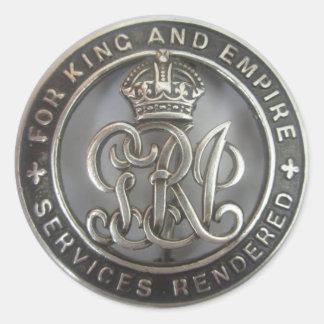 kung & väldeklistermärke. för den tjänste- yaen runt klistermärke