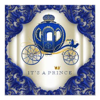 Kunglig blått- och guldvagnsPrince baby shower Fyrkantigt 13,3 Cm Inbjudningskort
