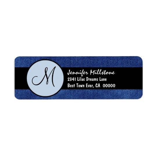 Kunglig blått- och svartbröllopMonogram Returadress Etikett