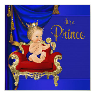 Kunglig blåttfinarePrince baby shower Fyrkantigt 13,3 Cm Inbjudningskort