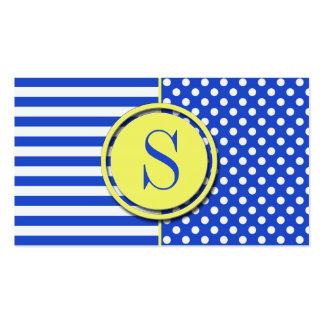 Kunglig blåttkombinationspolka dots och randar set av standard visitkort