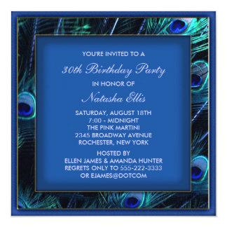 Kunglig blåttkvinna födelsedagsfest för påfågel fyrkantigt 13,3 cm inbjudningskort