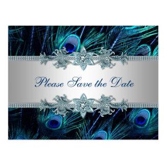 Kunglig bröllop spara datum för blåttsilverpåfågel vykort