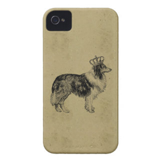 Kunglig collie för vintagehundtryck med kronachic Case-Mate iPhone 4 case
