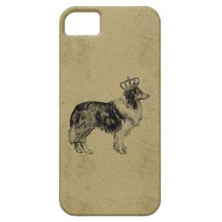 Kunglig collie för vintagehundtryck med kronachic iPhone 5 Case-Mate skydd