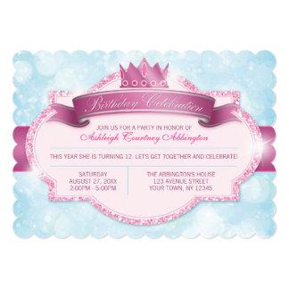 Kunglig flick kalas för Princess Rosa Blänka 12,7 X 17,8 Cm Inbjudningskort
