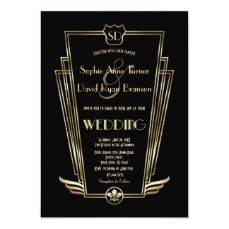 Kunglig guld- inbjudan för bröllop för art