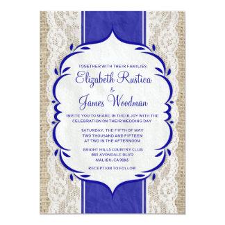 Kunglig inbjudan för bröllop för Burlap för