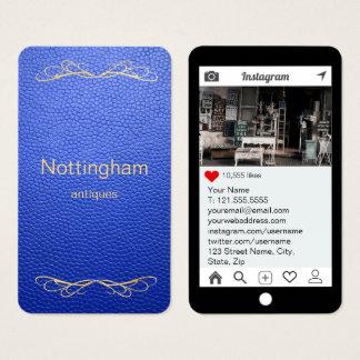 Kunglig Instagram för blåttåtlöjeläder stil Visitkort