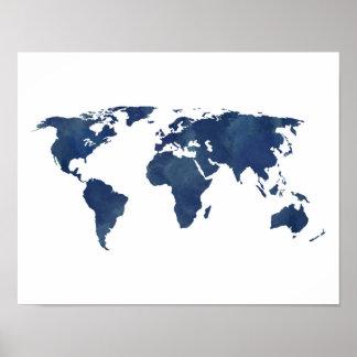 Kunglig karta för blåttvattenfärgvärld poster
