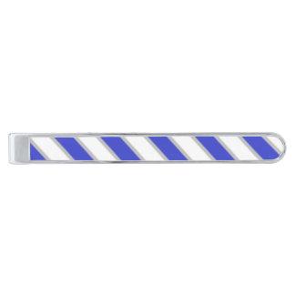 Kunglig pläterad tiepub för blått och för vit slipsnål med silverfinish