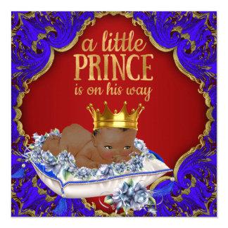 Kunglig Prince baby shower för afrikansk amerikan Fyrkantigt 13,3 Cm Inbjudningskort