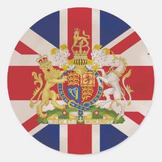 Kunglig vapensköld på den fackliga jackflagga runt klistermärke