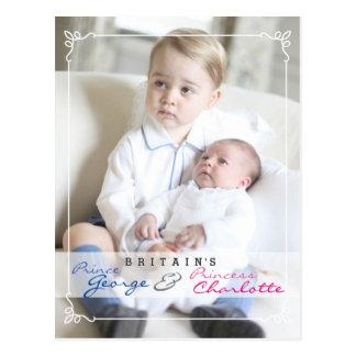 Kungliga barn - George & Charlotte Vykort