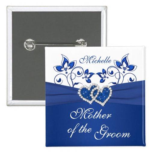 Kungliga blått, den blom- modern för vit av brudgu knappar med nål