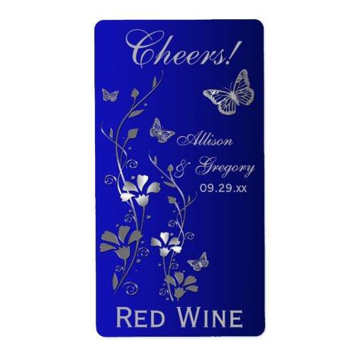 Kungliga blått, för bröllopflaska för silver blom- fraktsedel