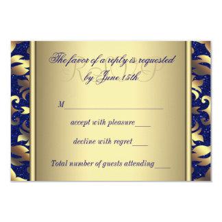 Kungliga blått och guld- bröllop OSA 8,9 X 12,7 Cm Inbjudningskort