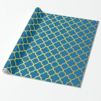 Kungliga blått och guld- glitterQuatrefoil mönster Presentpapper