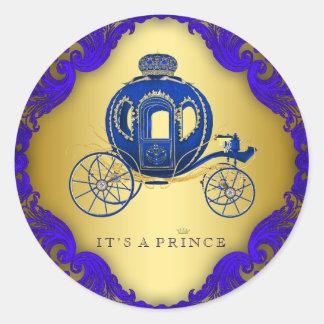 Kungliga blått och guld- Prince baby shower Runt Klistermärke