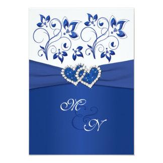 Kungliga blått och vit gick med hjärtainbjudan 12,7 x 17,8 cm inbjudningskort