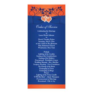 Kungliga blått, orange blommigt, reklamkort