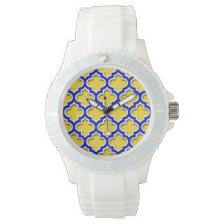 Kungliga blått vita marockanska Quatrefoil #5DS Armbandsur