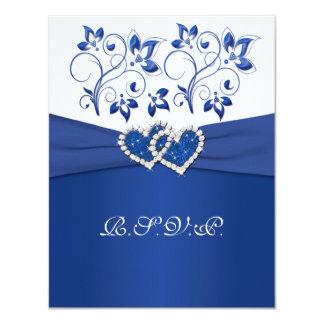 Kungliga blått, vitblommigt gick med hjärtaOSA Kort För Inbjudningar