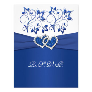 Kungliga blått vitblommigt gick med hjärtaOSA kor Kort För Inbjudningar