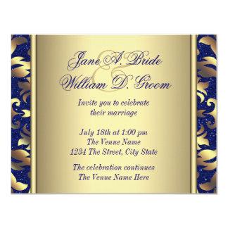 Kungligt blått- och guldbröllop 10,8 x 14 cm inbjudningskort