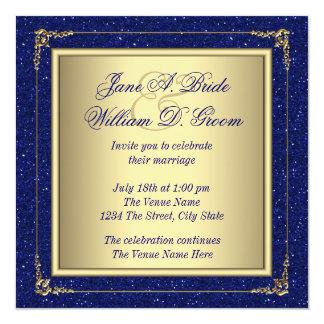 Kungligt blått- och guldbröllop fyrkantigt 13,3 cm inbjudningskort