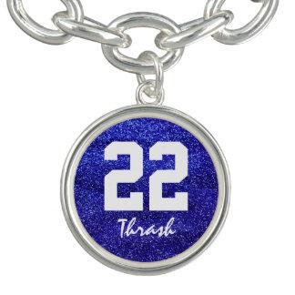 Kungligt blåttglitter beställnings- Jersey Armband