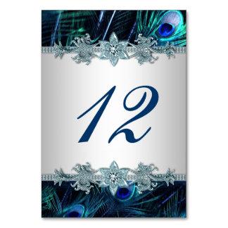 Kungligt blåttpåfågelbröllop bordsnummer